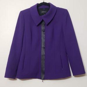 Lafayette 148 Wool & Leather Trim Zip Blazer, sz 8